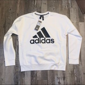 Adidas white black crewneck sweatshirt